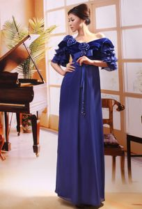 Off the Shoulder Half Sleeves Empire Blue Prom Gowns in Floor-length