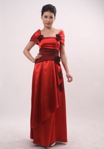 Cheap Ankle-length Column Red Prom Gown Dress with Sash and Flowers