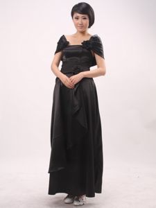 Black Strapless Ankle-length Empire Prom Dress with Hand Made Flowers