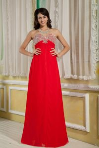 London USA Plus Size Sweetheart Beaded Red Long Prom Dress in Style