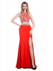 Sophisticated Coral Red Criss Cross High-neck Beading Evening Dress Chiffon Sleeveless Sweep Train