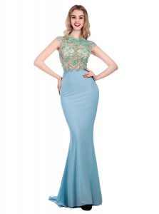 Colorful With Train Light Blue Homecoming Dress Scoop Sleeveless Sweep Train Zipper