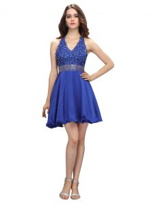 High End Empire Prom Gown Royal Blue V-neck Chiffon Sleeveless Mini Length Criss Cross