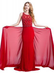 Scoop Sleeveless Silk Like Satin With Train Court Train Zipper Homecoming Dress in Red with Beading