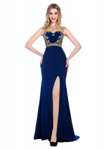 Navy Blue Sleeveless With Train Beading and Appliques Zipper Prom Evening Gown