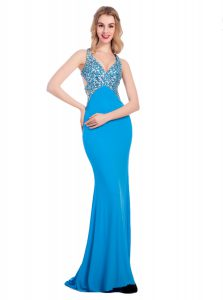 Flirting Baby Blue Silk Like Satin Clasp Handle V-neck Sleeveless With Train Homecoming Dress Beading