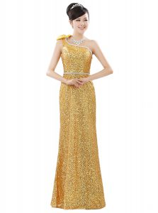 One Shoulder Gold Zipper Homecoming Dress Beading and Sequins Sleeveless Floor Length
