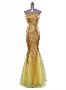 Custom Design Mermaid Sequins Floor Length Gold Prom Party Dress Strapless Sleeveless Zipper