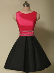 Scoop Mini Length Lace Up Prom Gown Red And Black for Prom with Beading