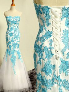 Romantic Mermaid Dress for Prom Blue and Blue And White Sweetheart Tulle Sleeveless Floor Length Lace Up