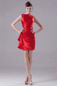 Most Popular Mini-length Bateau Neck Red Prom Dresses in Lima USA