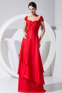 Perfect Empire Red Long Prom Dress with Beaded Cap Sleeves in Mansfield OH