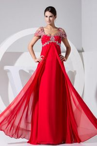 Unique Chiffon Red Long Formal Prom Dresses with Special Beaded Sleeves