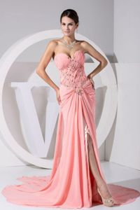 Turn Heads Slitted Beaded Watermelon Formal Prom Dresses Wholesale