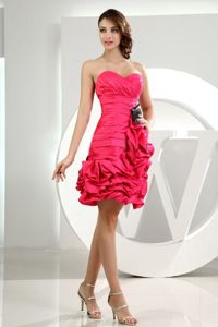 Pretty Coral Red Short Senior Prom Dress with Ruffled Hem Fast Shipping
