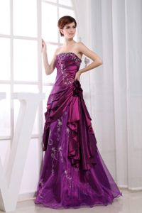 Vintage A-line Strapless Purple Formal Prom Dress with Embroidery