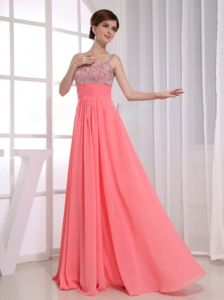 Beautiful Straps Beaded Watermelon Maxi Prom Dresses Plus Size
