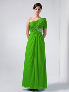 Chiffon One Shoulder Beaded Spring Green Long Prom Dress in Marion USA