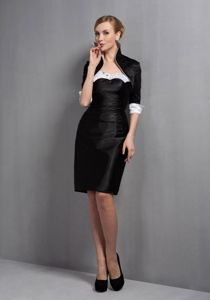 Classic Zipper-up Black Short Prom Dress under 150 for Mother of the Bride