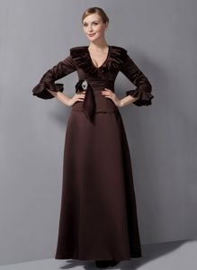 3/4 Sleeves Brown Long Prom Dress for Winter with Flounced V-neck Plus Size