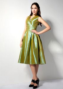 Exclusive V-neck Olive Green Tea-length Prom Attire for Mother Of The Bride