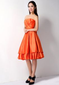 Turn Heads Strapless Orange Red 50s Style Swing Prom Dresses for Ladies
