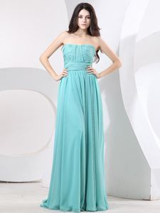 Exclusive Zipper-up Strapless Aqua Blue Long Prom Attire in Middletown OH