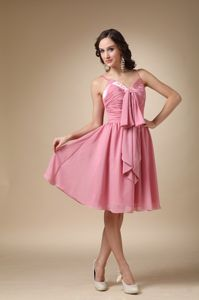 Rose Pink Ruched Knee-length Formal Prom Dresses with Spaghetti Straps