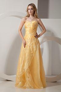 Gold Sweetheart Full-length Beaded Formal Prom Dresses with Embroidery