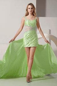 Sexy Light Green Beaded High-low Dress for Prom with Straps in Altamont