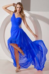 Royal Blue One Shoulder High-low Ruched Senior Prom Dress with Cutout