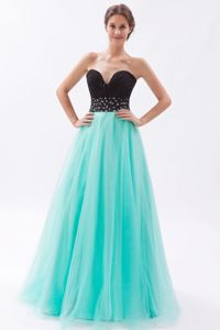 Black and Turquoise Tulle Beaded Sweetheart Long Formal Prom Dresses