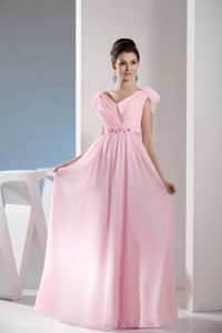 V-neck Cap Sleeves Ruched Light Pink Long Prom Dresses with Beading