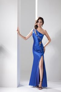 Blue Cool Back Beaded One Shoulder High Slit Prom Dresses with Cutout