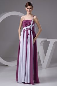 New Arrival Purple and White Full-length Prom Gown Dress with Straps