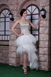 Asymmetrical White Strapless Semi-formal Prom Dresses with Beading