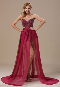 Sexy Burgundy Beaded Sweetheart High-low Dress for Prom in Chicago