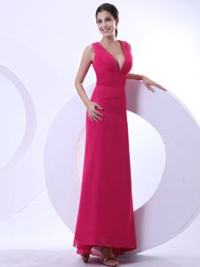Classic Plunging V-neck Red Long Chiffon Prom Dress with Keyhole on Back