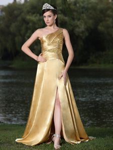 Classy Lace-up One Shoulder Gold Long Dress for Prom with Beads in Powell OH