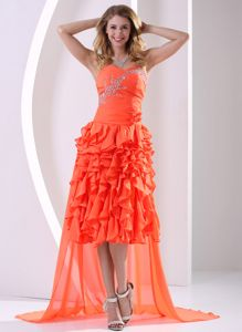 Unique Beaded Orange Red High-low Prom Dress with Detachable Train