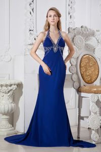 Blue Beaded Halter Prom Dress with Chapel Train and Beading in Irving