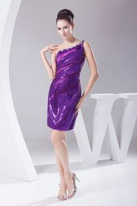 Purple One Shoulder Mini-length Dress for Prom with Sequins in Bluffdale