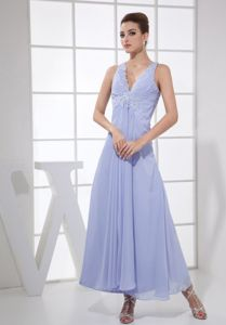 Lilac V-neck Chiffon Ankle-length Prom Outfits with Beading and Ruching