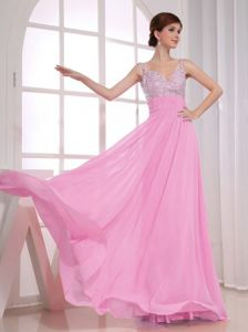 New Arrival Spaghetti Straps Chiffon Beaded Maxi Prom Dress in Rose Pink