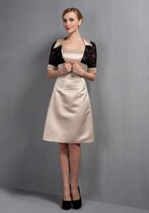 Beautiful Knee-length Satin Champagne Prom Dresses in Simple Style Online