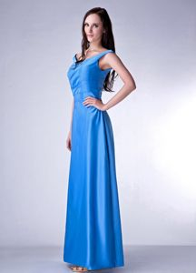 Lace-up V-neck Ankle-length Sky Blue Formal Prom Outfits Free Shipping