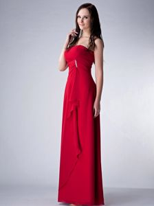 Plus Size Strapless Wine Red Long Chiffon Formal Prom Dress on Sale