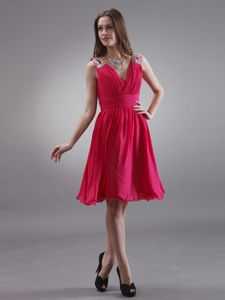 The Best Zipper-up V-neck Coral Red Short Prom Dresses under 150
