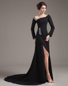 Asymmetrical Neck Long Sleeves Black Slitted Prom Gown Dress for Celebrity