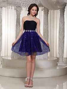 Strapless Sequin Chiffon Black and Purple Short Prom Dresses for Wholesale